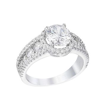Charlene - Women's Rhodium Plated Solitaire CZ Halo Engagement Ring