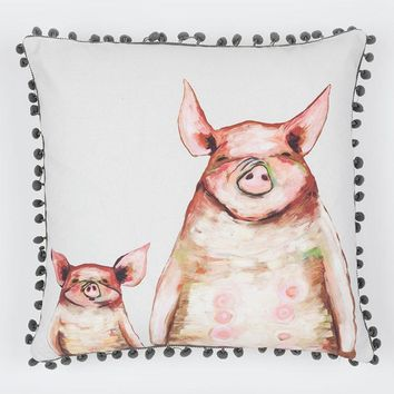 Two Piggies In A Row - Soft Gray Pillow