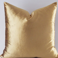 Velvet Solid Gold Pillow Covers, Decorative Velvet Pillows, Throw Pillows,12,14,16,18,20,22,24,26,28,30 inch