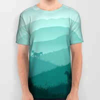 Cows at Dusk All Over Print Shirt by Kingdom Of Art