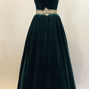 Green prom dress, ball gown, evening gown, party dress, long dress, velvet dress, strapless dress, vintage style dress