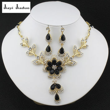 jiayijiaduo Hot African female costume jewelry set for womenGold plated Black Red Golde-color Necklace earrings set wedding