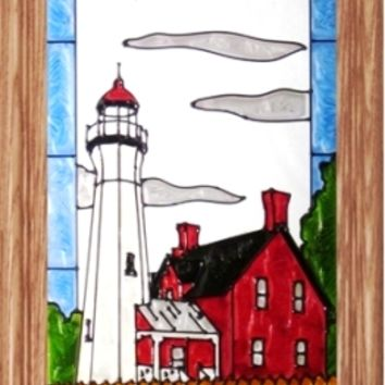 Port Sanilac Lighthouse Vertical Stained Art Glass Panel