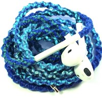 Wrapped Tangle Free Earbuds for iPhone Blues & Teals with Microphone and Volume Control - by MyBuds