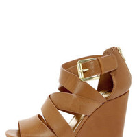 Soda Hat Tan Strappy Platform Wedge Sandals