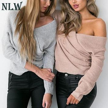 NLW High Street Fashion Women Full Sleeve Sweater Computer Knitted Sexy V Neck Regular Knitwear Autumn Winter Mujer Jumper