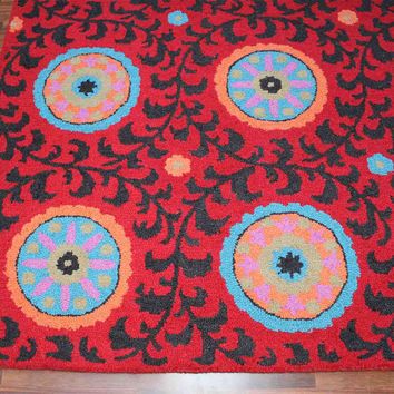 Bohemia Floral Red 5 x 8 Handmade Persian Style Wool Area Rug