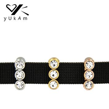 YUKAM Jewelry Crystal Rhinestone Sparkling Trio Slide Charms Keeper for Stainless Steel Mesh Keeper Bracelets Accessories Making