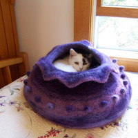 $98.00 custom felted wool cat bed by kceknits on Etsy