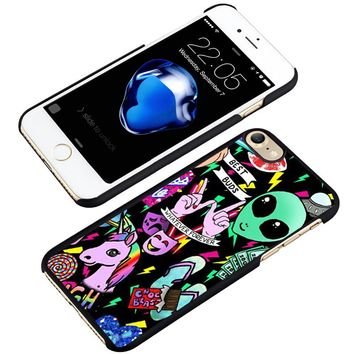 Unicorn & Aliens Cartoon phone case cover for iphone 5 5S SE 6 6S 7 8 PLUS X
