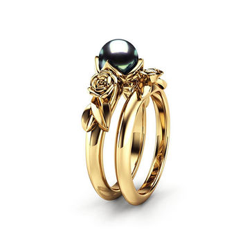 Black Pearl Engagement Ring Set Rose Engagement Ring Pearl Gold Rings