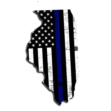 Illinois Distressed Subdued US Flag Thin Blue Line/Thin Red Line/Thin Green Line Sticker. Support Police/Firefighters/Military