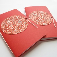 Paper and Fabric Mini Notebooks-Jotters-Set of 2 - $5.50 - Handmade Crafts by Pandoras Paper Goods
