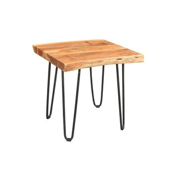 Driftwood Live Edge Solid Acacia Side Table with Hairpin Legs | GFURN