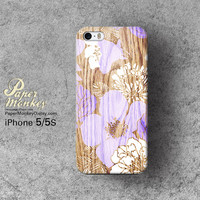 Abstract  Purple floral on wood / not real wood, Unique Decoupage case, Samsung galaxy S4, iPhone 5/5S, iPhone 4/4S, iPhone 3Gs case.