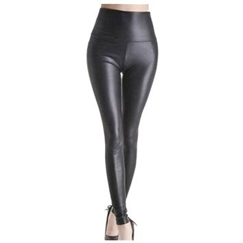 Shiny Metallic High Waist Black Stretchy Leather Leggings