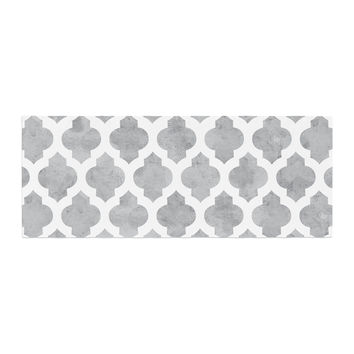 "Amanda Lane ""Gray Moroccan"" Grey White Bed Runner"