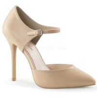 Nude Matte Leather Ankle Strap Amuse D'Orsay Pumps