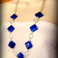 Chunky Cobalt Blue Porcelain Bead Necklace