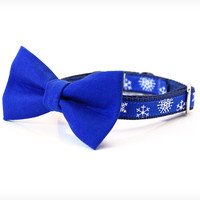 """Holiday Bow Tie Cat Collar Set - """"My Favorite Things"""" - Blue Detachable Bow Tie + Winter Blue Snowflake Collar"""