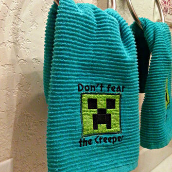 Minecraft inspired, Creeper Bathroom or Kitchen Towel