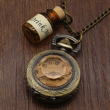 Vintage Glass Alice In Wonderland Drink Me Bottle Dark Brown Quartz Pocket Watch for Women Lady Girl Gift