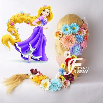 Cool Tangled Cosplay Wig Princess Rapunzel Long Braids Artificial Flowers Headwear Women Blonde Synthetic Hair AdultAT_93_12