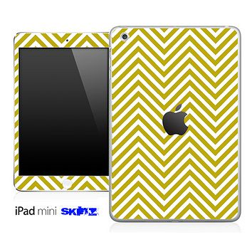 Gold/White Sharp Chevron Pattern Skin for the iPad Mini or Other iPad Versions