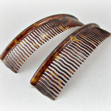 Antique Edwardian Hair Comb Set, Large Faux Tortoise-Shell Hair Combs, Galalith Plastic Hair Combs, 1900s Edwardian Fashion Hair Accessories