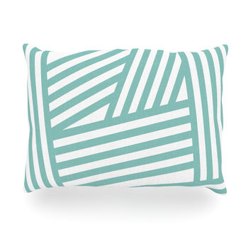 "Louise Machado ""Aqua Stripes"" Oblong Pillow"