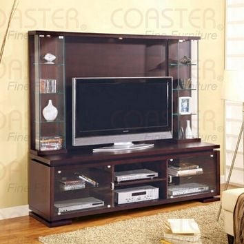 "A.M.B. Furniture & Design :: Living room furniture :: Entertainment centers :: 70"" wide glass front doors Espresso finish wood entertainment center wall unit with hutch"