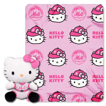 Mets  40x50 Fleece Throw and Hello Kitty Character Pillow Set
