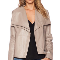 BB Dakota Keaton Leather Jacket in Taupe