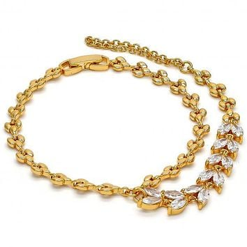 Gold Layered 03.60.0134.07 Fancy Bracelet, Leaf Design, with White Cubic Zirconia, Polished Finish, Gold Tone