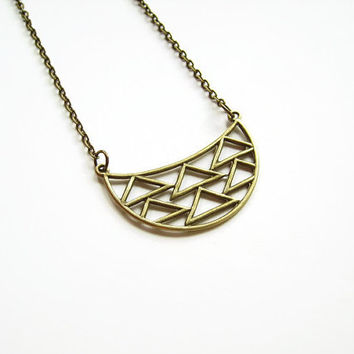 Long geometric necklace, Geometric statement necklace, Simple long necklace, Minimalist necklace, Long brass necklace, Brass jewelry