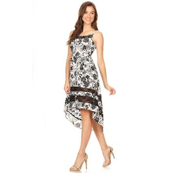 Black & White Floral High Low Dress