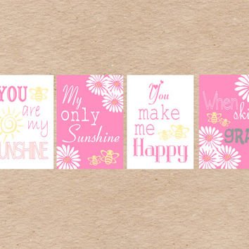 Nursery Art DIY Printable- Bumble Bee & Daisy You Are My Sunshine Wall Art- Pink