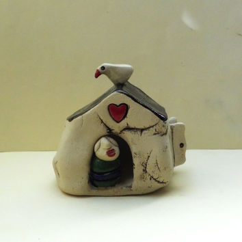 Ceramic miniature, ceramic house with a man at the door, tiny red heart, home decor, for the office, housewarming gift, valentine's gift