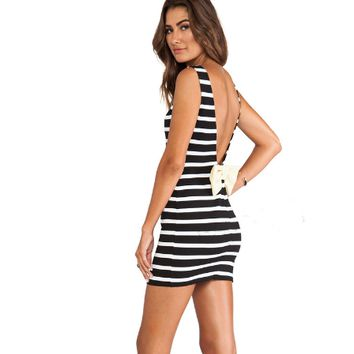 Stripe V Back Bow Dress