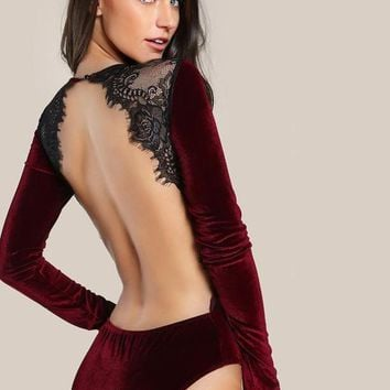 Backless Velvet Lace Bodysuit Burgundy Elegant Women Applique Long Sleeve Bodysuit New Sexy Vintage Party Bodysuit