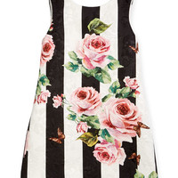 Dolce & Gabbana Striped Rose Brocade Dress, Size 2-6 and Matching Items