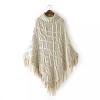 Beige Argyle Texture Pattern Tassels Turtleneck Cape Sweater