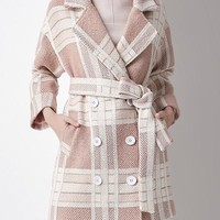Plaid Double Breasted Wool Coat