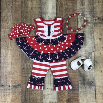 RTS Outfits For Girls Red Striped Anchor 2pc Capri Set D6