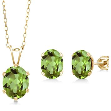 2.75 Ct Oval Green Peridot Gold Plated Silver Pendant Earrings Set