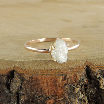 Rose Gold Uncut Diamond Engagement Ring