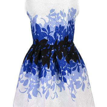 Casual Awesome Printed Round Neck Jacquard Skater Dress