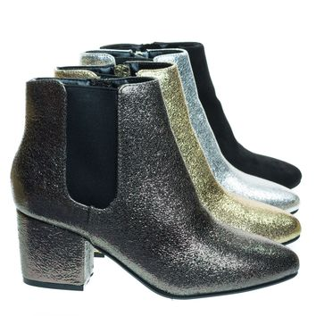 Upscale04 Pewter Metallic Chunky Block Heel Chelsea Ankle Bootie w Side Elastic, F-Suede Lining