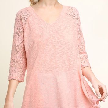 Umgee Lace Sleeve Top