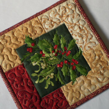 Holiday Candle Mat Holiday Basket Gift or Hostess Gift